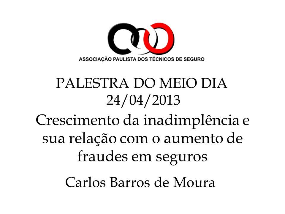Crescimento da inadimplência e sua relação com o aumento de fraudes em seguros Carlos Barros de Moura PALESTRA DO MEIO DIA 24/04/2013