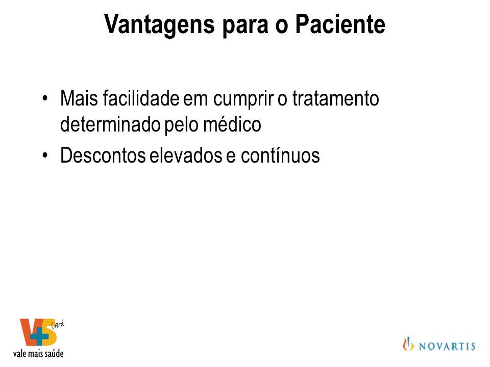Mais facilidade em cumprir o tratamento determinado pelo médico Descontos elevados e contínuos Vantagens para o Paciente