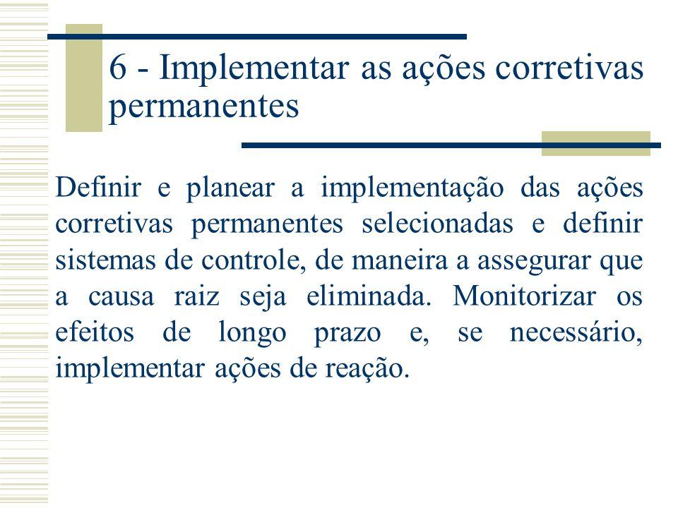 5 - Escolher e verificar as ações corretivas permanentes Confirmar com base em dados/fatos, através de testes pré-produtivos, que as ações corretivas