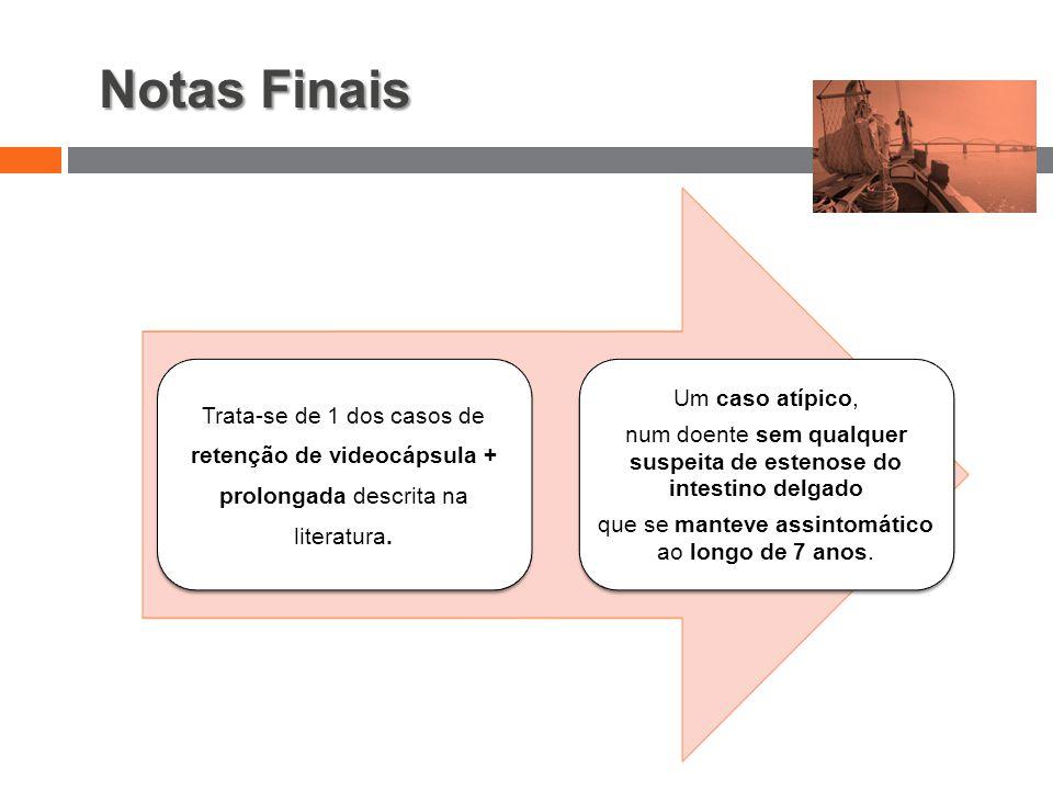 Notas Finais Trata-se de 1 dos casos de retenção de videocápsula + prolongada descrita na literatura.