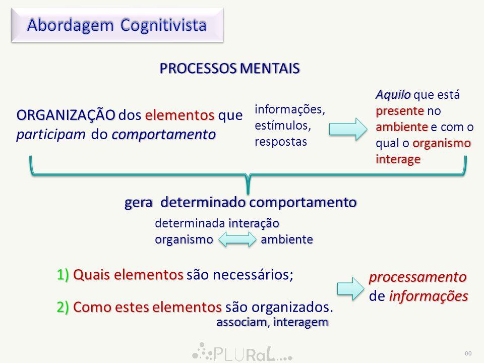 Esta abordgem assume que: 1)estudoprocessos mentais compreender plenamente comportamento 1) somente pelo estudo dos processos mentais podemos compreender plenamente os processos de interação entre os organismos e o ambiente, ou seja, o comportamento; processos mentaisprocessos mentais  Sistema Nervoso  Processos realizados pelo Sistema Nervoso dos organismos.