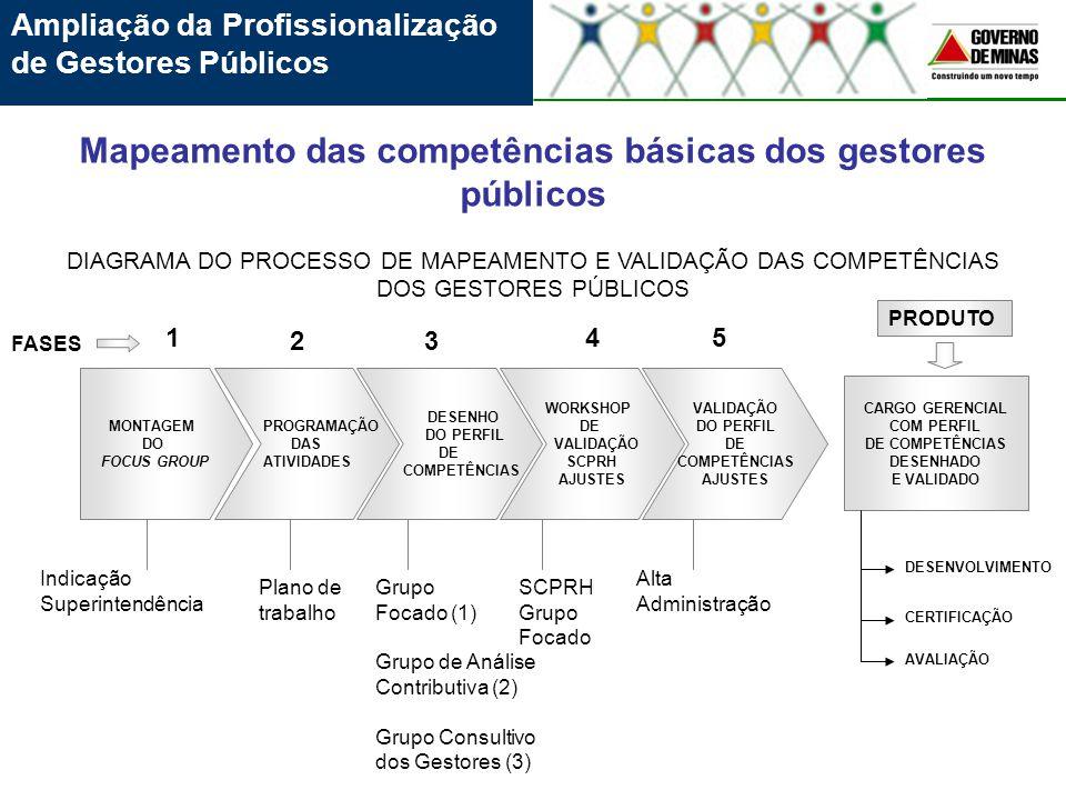 Ampliação da Profissionalização de Gestores Públicos Mapeamento das competências básicas dos gestores públicos MONTAGEM DO FOCUS GROUP PROGRAMAÇÃO DAS