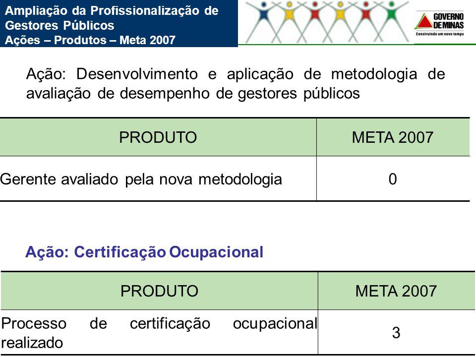 Ampliação da Profissionalização de Gestores Públicos Ações – Produtos – Meta 2007 PRODUTOMETA 2007 Gerente avaliado pela nova metodologia0 Ação: Desen