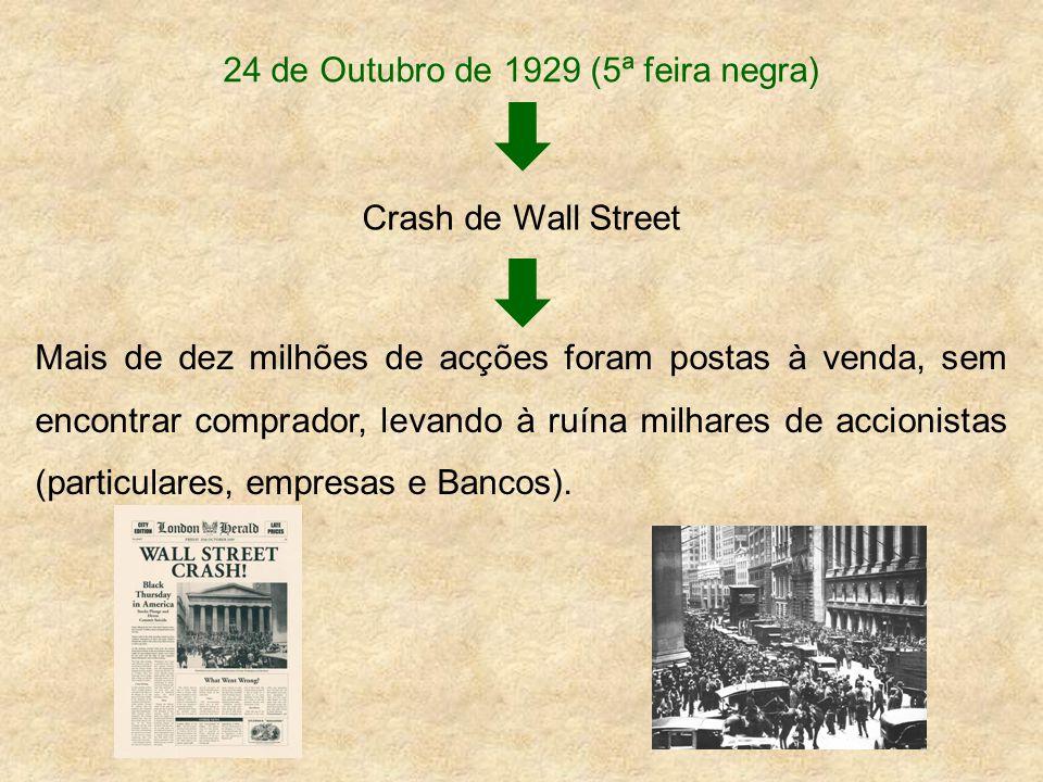 24 de Outubro de 1929 (5ª feira negra) Crash de Wall Street Mais de dez milhões de acções foram postas à venda, sem encontrar comprador, levando à ruí