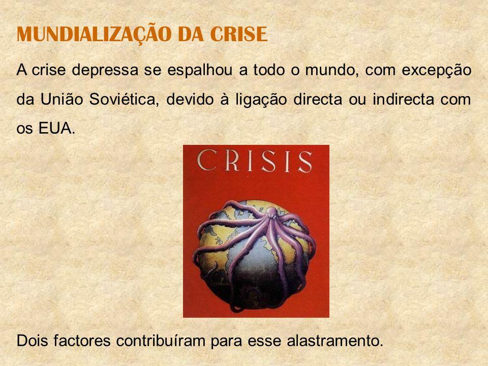MUNDIALIZAÇÃO DA CRISE A crise depressa se espalhou a todo o mundo, com excepção da União Soviética, devido à ligação directa ou indirecta com os EUA.