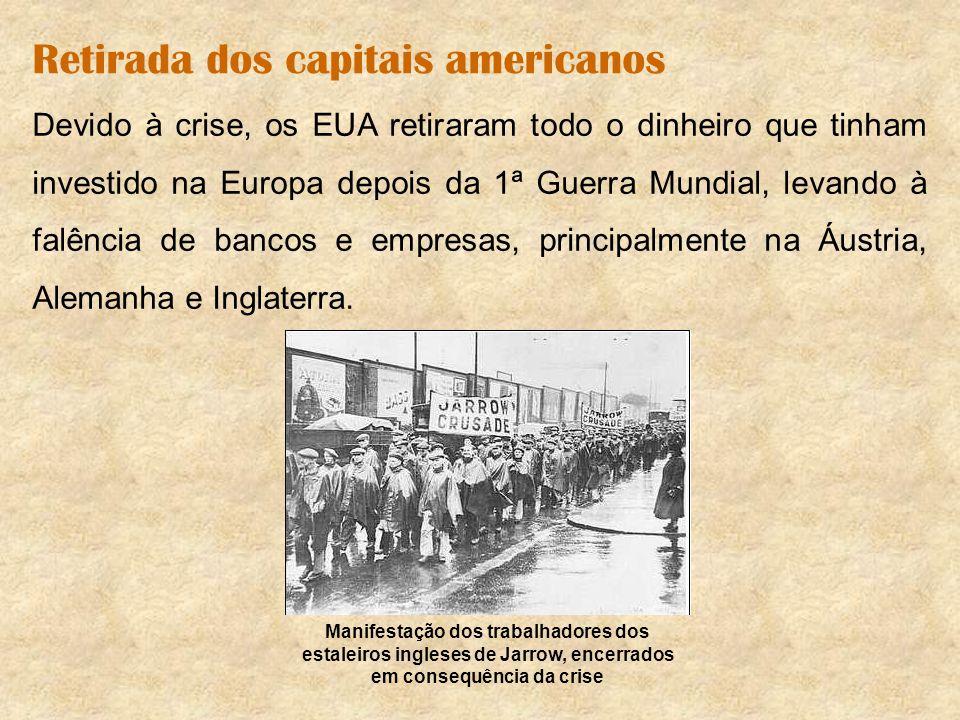 Retirada dos capitais americanos Devido à crise, os EUA retiraram todo o dinheiro que tinham investido na Europa depois da 1ª Guerra Mundial, levando