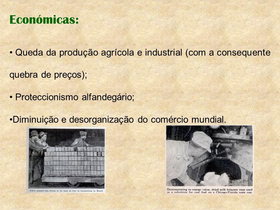 Económicas: Queda da produção agrícola e industrial (com a consequente quebra de preços); Proteccionismo alfandegário; Diminuição e desorganização do