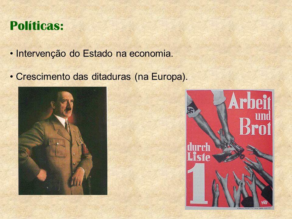 Políticas: Intervenção do Estado na economia. Crescimento das ditaduras (na Europa).