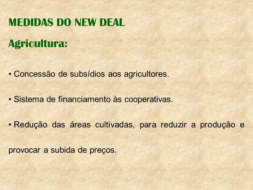 MEDIDAS DO NEW DEAL Agricultura: Concessão de subsídios aos agricultores. Sistema de financiamento às cooperativas. Redução das áreas cultivadas, para