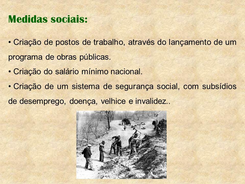 Medidas sociais: Criação de postos de trabalho, através do lançamento de um programa de obras públicas. Criação do salário mínimo nacional. Criação de