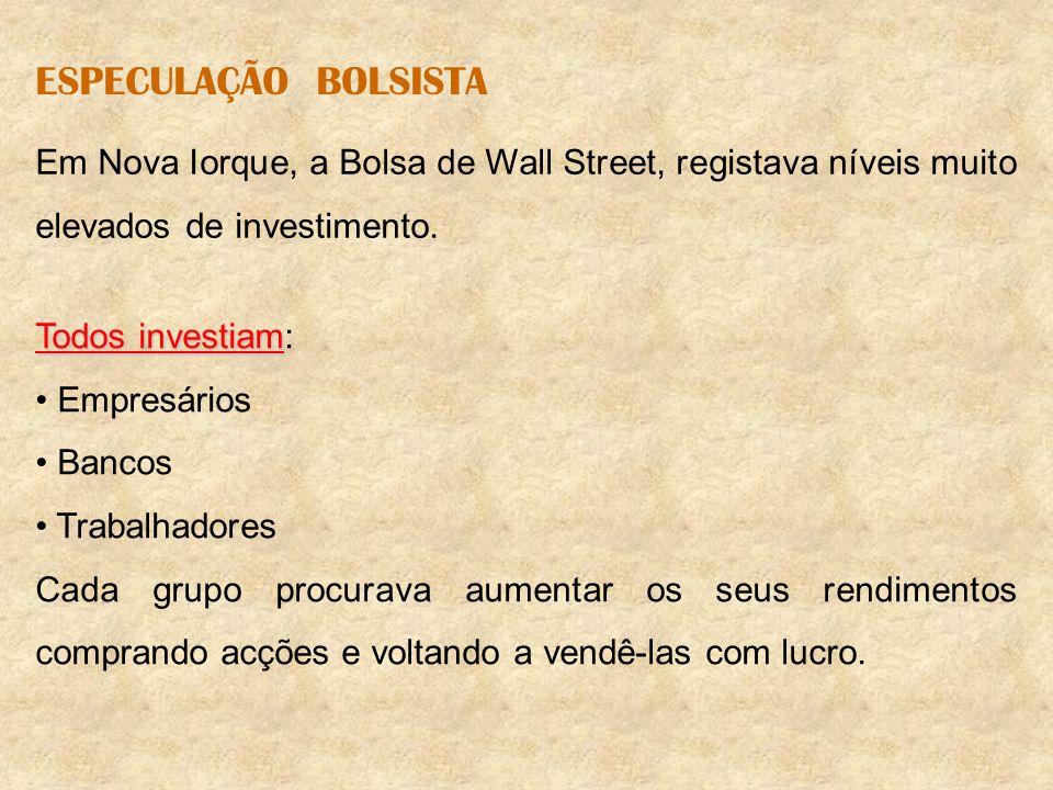 ESPECULAÇÃO BOLSISTA Em Nova Iorque, a Bolsa de Wall Street, registava níveis muito elevados de investimento. Todos investiam Todos investiam: Empresá