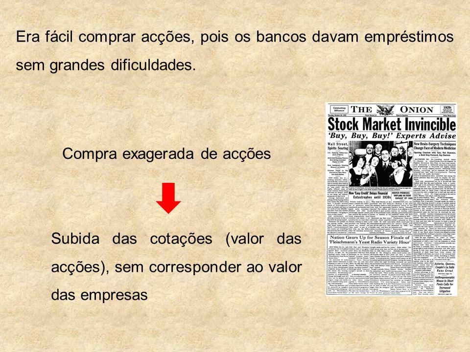 Outubro de 1929 A imprensa publica notícias sobre a verdadeira situação de algumas empresas (dificuldades / falências) Accionistas começam a vender acções para não perder dinheiro Cotações começam a descer Pânico em Wall Street