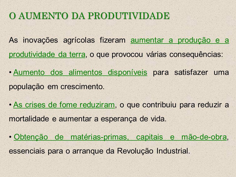 O AUMENTO DA PRODUTIVIDADE As inovações agrícolas fizeram aumentar a produção e a produtividade da terra, o que provocou várias consequências: Aumento