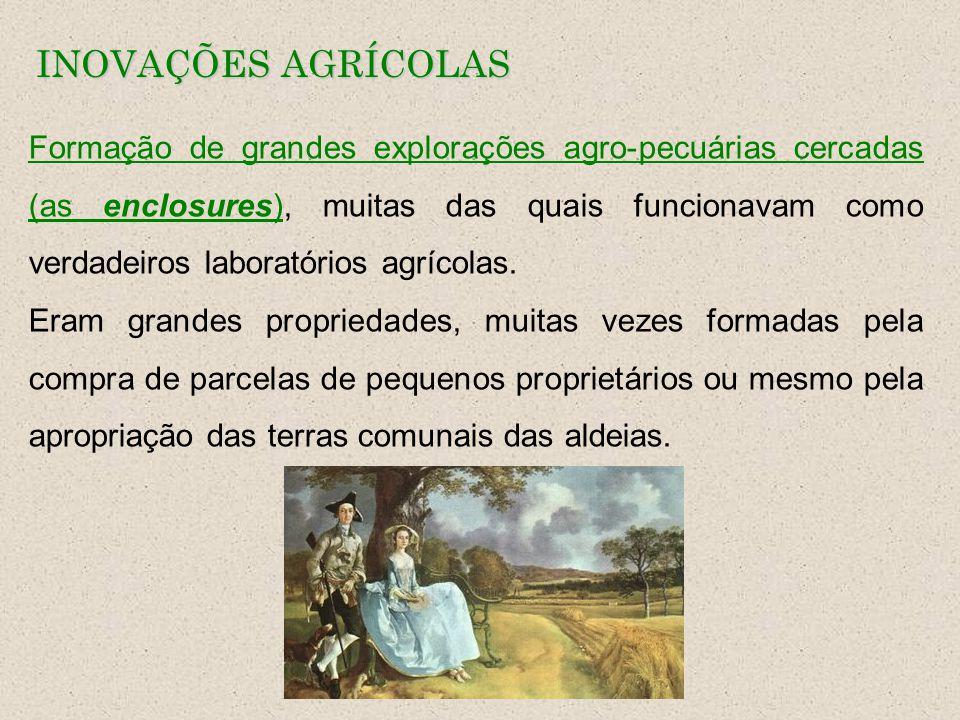 INOVAÇÕES AGRÍCOLAS Formação de grandes explorações agro-pecuárias cercadas (as enclosures), muitas das quais funcionavam como verdadeiros laboratório