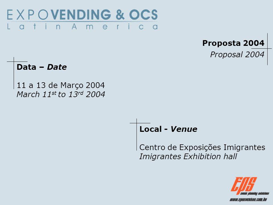 Proposta 2004 Proposal 2004 Data – Date 11 a 13 de Março 2004 March 11 st to 13 rd 2004 Local - Venue Centro de Exposições Imigrantes Imigrantes Exhib