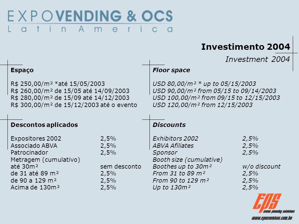Investimento 2004 Investment 2004 Espaço R$ 250,00/m² *até 15/05/2003 R$ 260,00/m² de 15/05 até 14/09/2003 R$ 280,00/m² de 15/09 até 14/12/2003 R$ 300