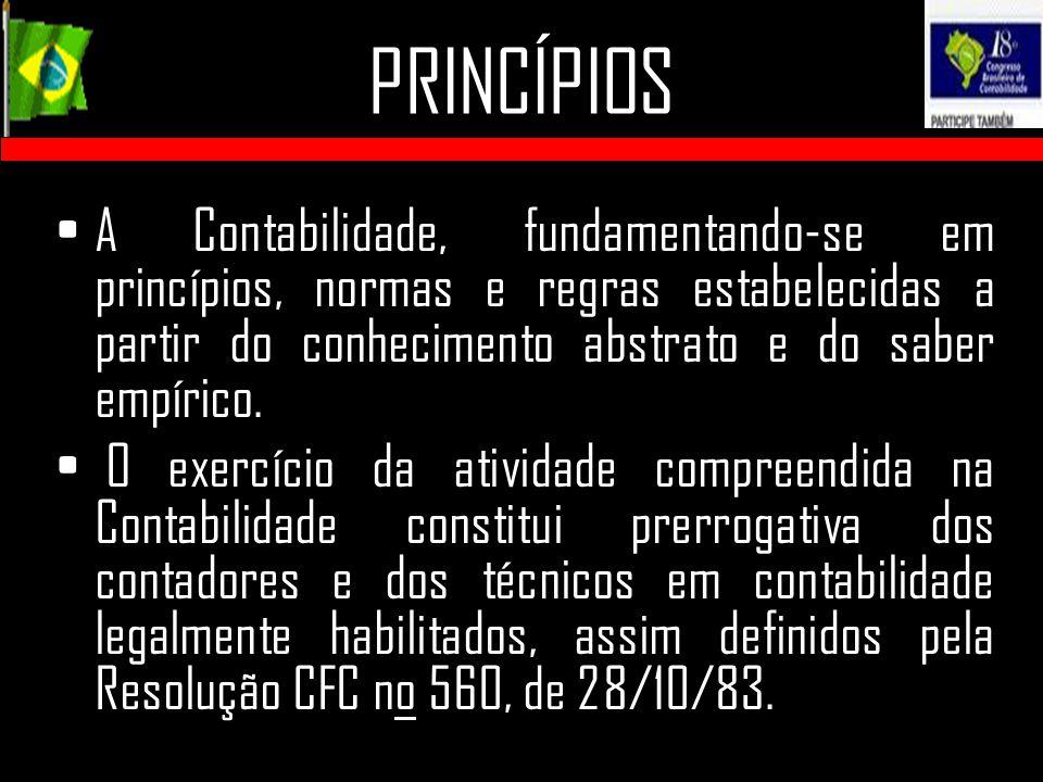 PRINCÍPIOS A Contabilidade, fundamentando-se em princípios, normas e regras estabelecidas a partir do conhecimento abstrato e do saber empírico. O exe