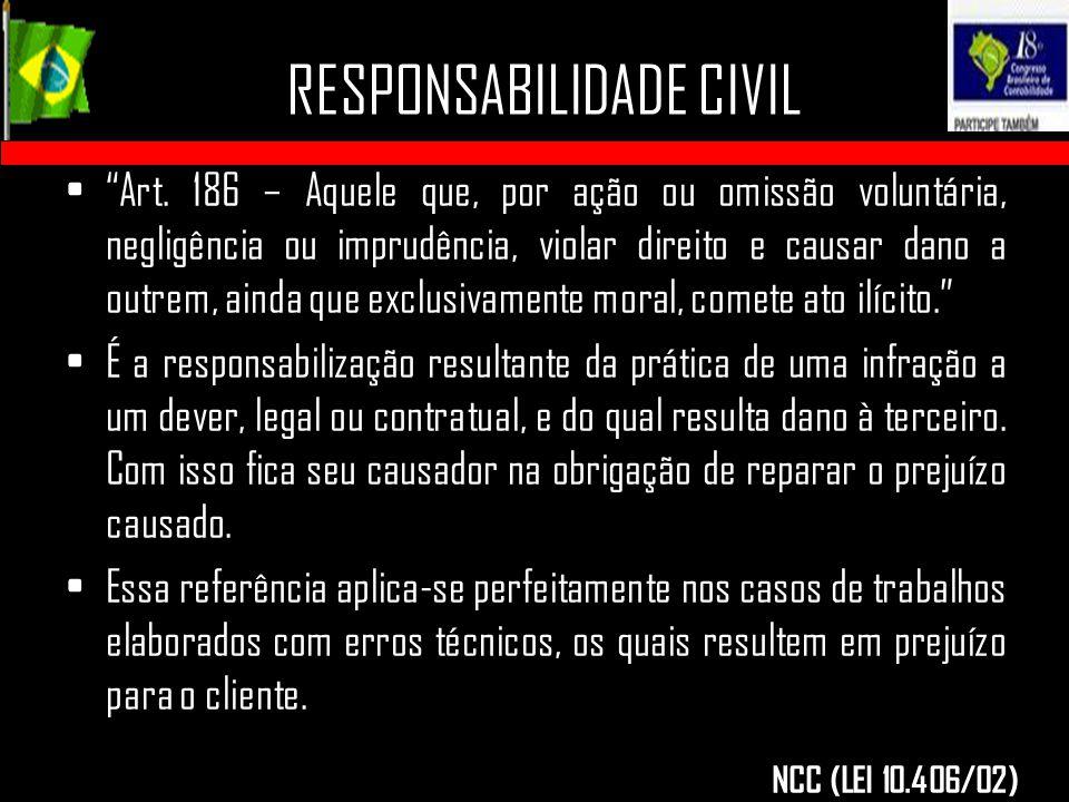 """RESPONSABILIDADE CIVIL """"Art. 186 – Aquele que, por ação ou omissão voluntária, negligência ou imprudência, violar direito e causar dano a outrem, aind"""