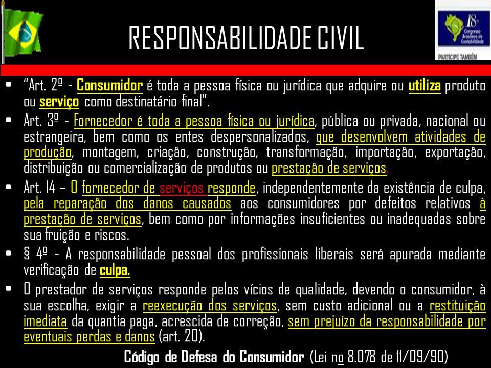 """RESPONSABILIDADE CIVIL """"Art. 2º - Consumidor é toda a pessoa física ou jurídica que adquire ou utiliza produto ou serviço como destinatário final"""". Ar"""