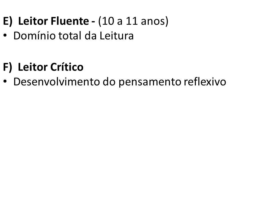 E) Leitor Fluente - (10 a 11 anos) Domínio total da Leitura F) Leitor Crítico Desenvolvimento do pensamento reflexivo