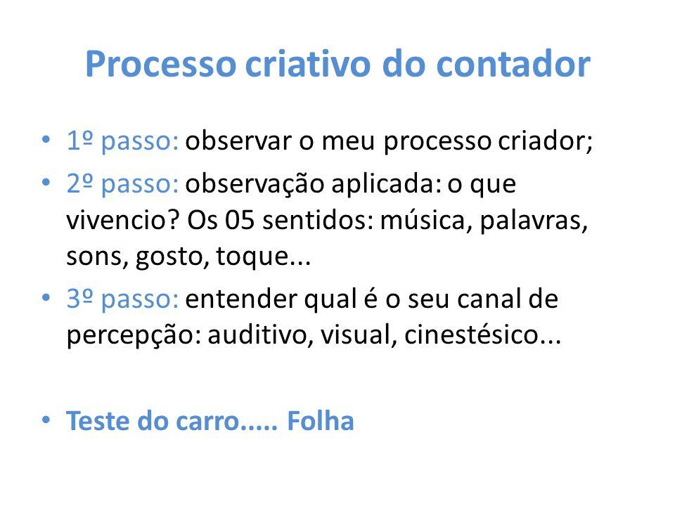 Processo criativo do contador 1º passo: observar o meu processo criador; 2º passo: observação aplicada: o que vivencio? Os 05 sentidos: música, palavr