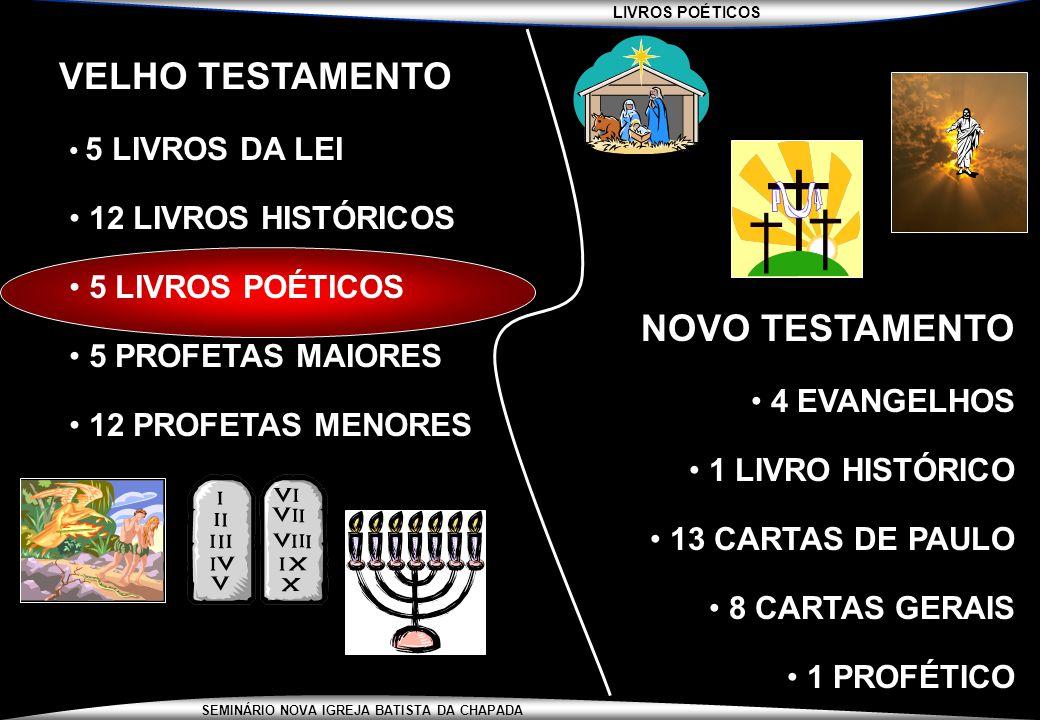 LIVROS POÉTICOS SEMINÁRIO NOVA IGREJA BATISTA DA CHAPADA LIVROS POÉTICOS 1/3 DA BÍBLIA É POESIA SOMENTE 5 LIVROS DA BÍBLIA NÃO TEM POESIA (LEVÍTICO, RUTE, ESDRAS, AGEU E MALAQUIAS) LIVROS POÉTICOS : JÓ, SALMOS, PROVÉRBIOS, ECLESIASTES, CANTARES FORAM ESCRITOS DESDE OS TEMPOS DE ABRAÃO ATÉ O FIM DOS REINADOS
