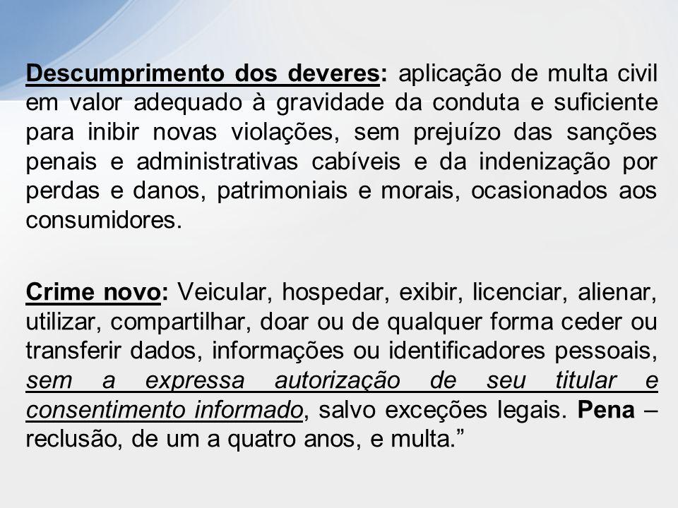 Descumprimento dos deveres: aplicação de multa civil em valor adequado à gravidade da conduta e suficiente para inibir novas violações, sem prejuízo d