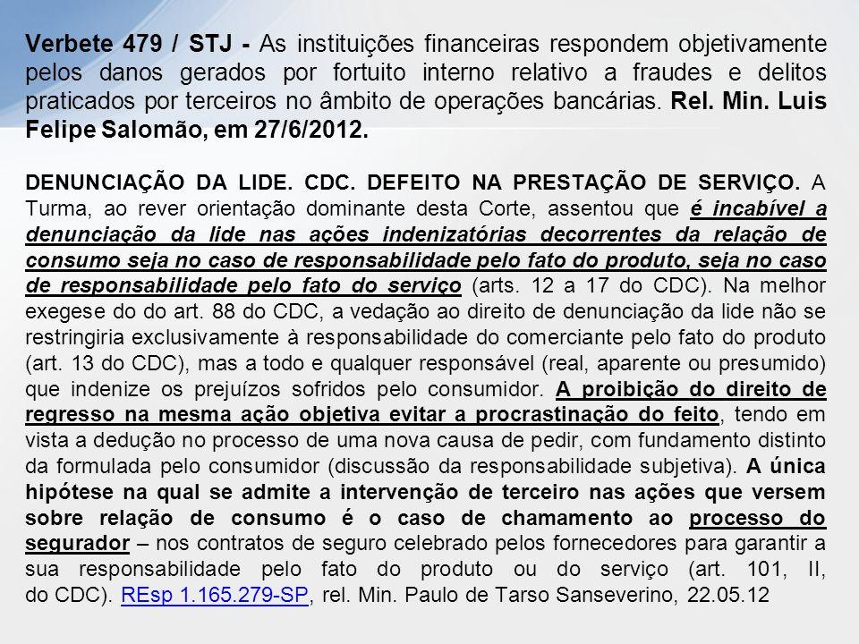 Verbete 479 / STJ - As instituições financeiras respondem objetivamente pelos danos gerados por fortuito interno relativo a fraudes e delitos praticad