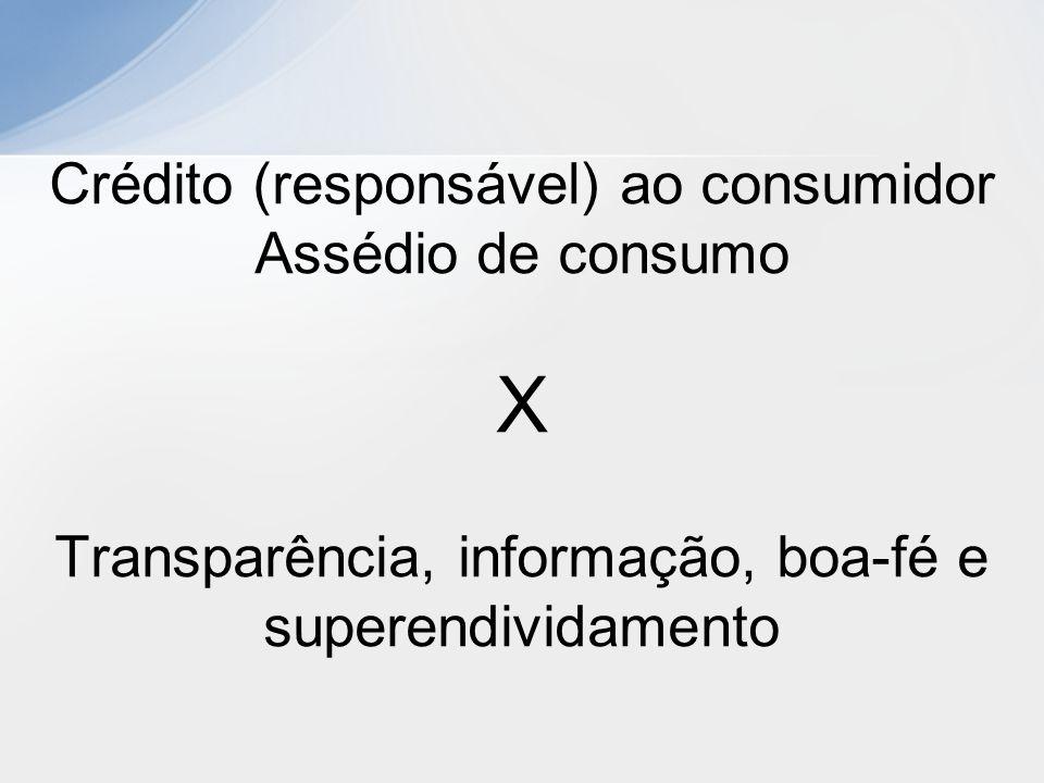 Crédito (responsável) ao consumidor Assédio de consumo X Transparência, informação, boa-fé e superendividamento