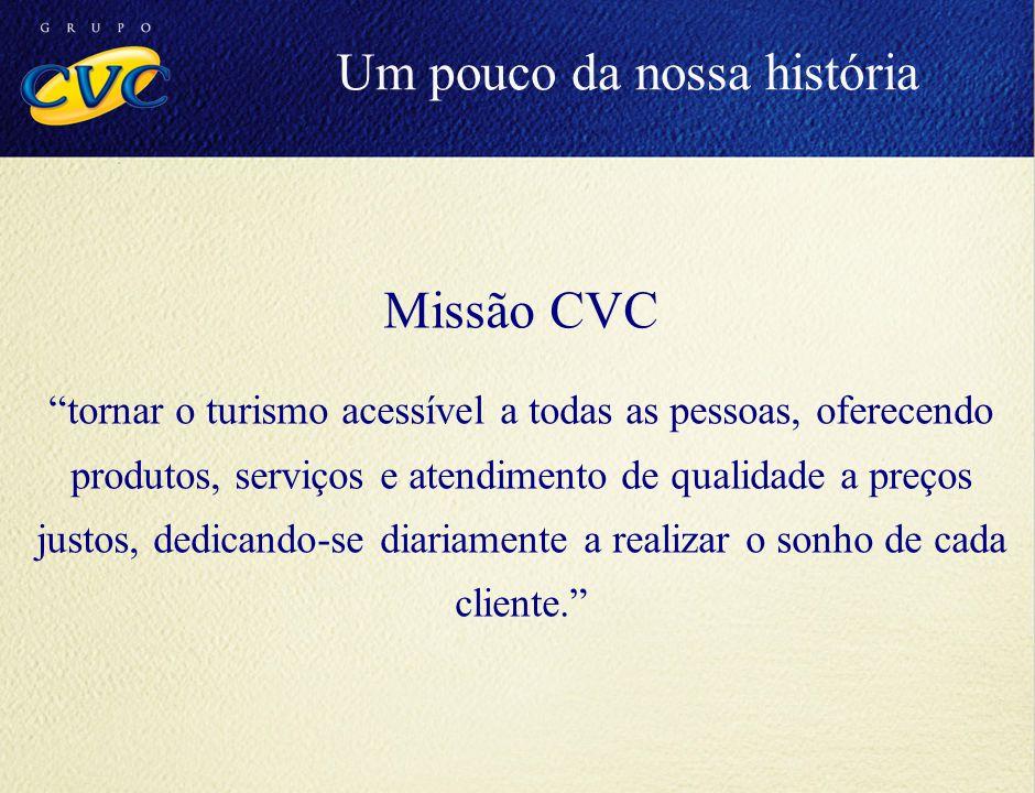 """Missão CVC """"tornar o turismo acessível a todas as pessoas, oferecendo produtos, serviços e atendimento de qualidade a preços justos, dedicando-se diar"""