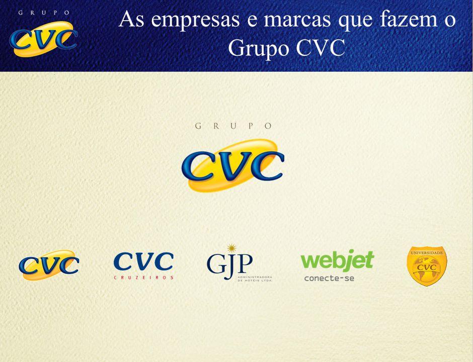 8,5 milhões (Dezembro 2005) 10 milhões (Dezembro 2006) 12 milhões (Dezembro 2007) 13,5 milhões (Dezembro 2008) 15,5 milhões (até Dezembro 2009) Passageiros Transportados As empresas e marcas que fazem o Grupo CVC