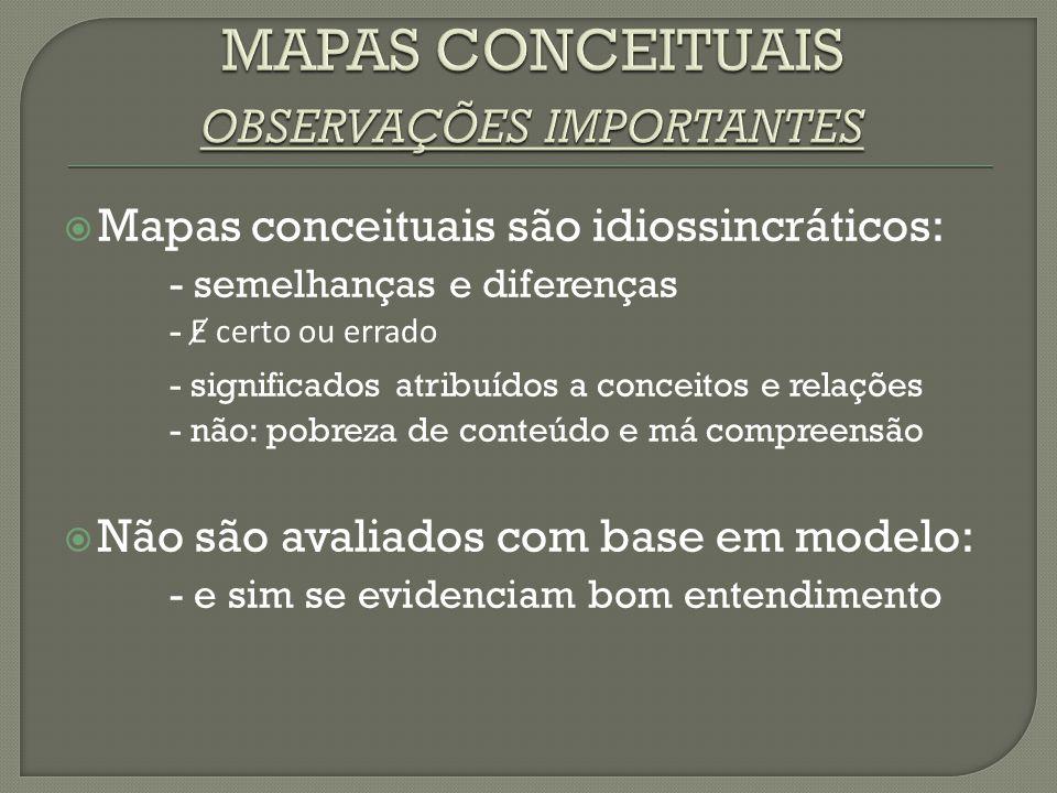MMapas conceituais são idiossincráticos: - semelhanças e diferenças - Ɇ certo ou errado - significados atribuídos a conceitos e relações - não: pobr