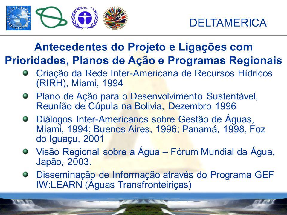 DELTAMERICA Criação da Rede Inter-Americana de Recursos Hídricos (RIRH), Miami, 1994 Plano de Ação para o Desenvolvimento Sustentável, Reuníão de Cúpula na Bolivia, Dezembro 1996 Diálogos Inter-Americanos sobre Gestão de Águas, Miami, 1994; Buenos Aires, 1996; Panamá, 1998, Foz do Iguaçu, 2001 Visão Regional sobre a Água – Fórum Mundial da Água, Japão, 2003.