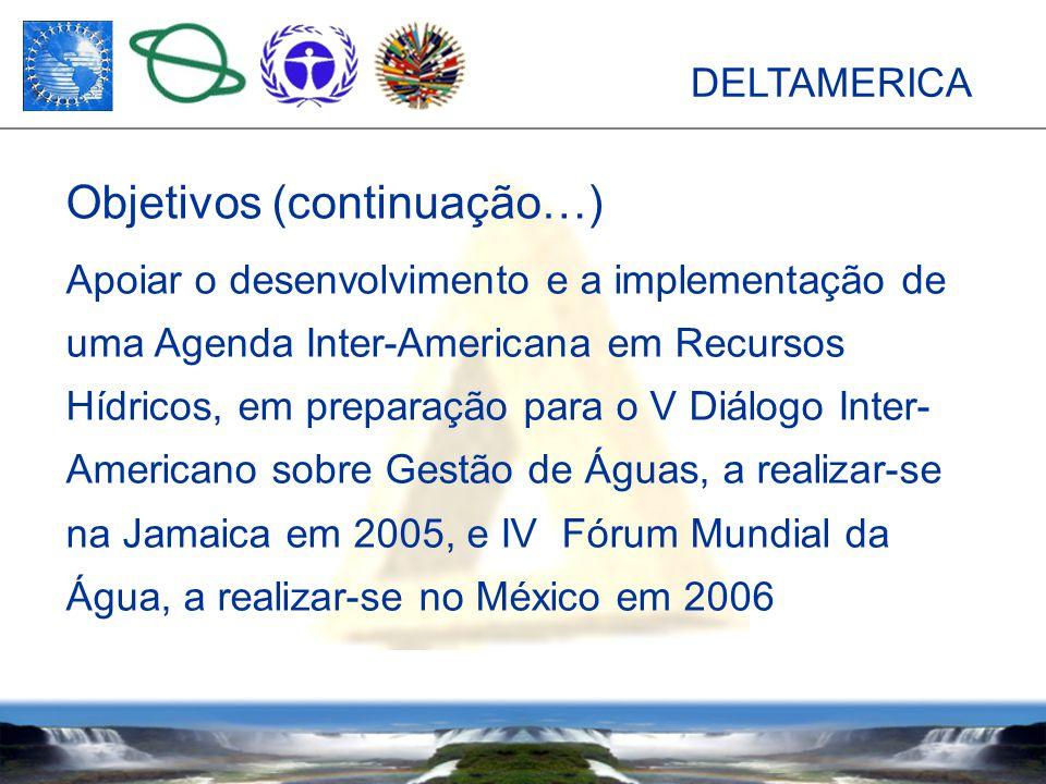 DELTAMERICA Apoiar o desenvolvimento e a implementação de uma Agenda Inter-Americana em Recursos Hídricos, em preparação para o V Diálogo Inter- Americano sobre Gestão de Águas, a realizar-se na Jamaica em 2005, e IV Fórum Mundial da Água, a realizar-se no México em 2006 Objetivos (continuação…)