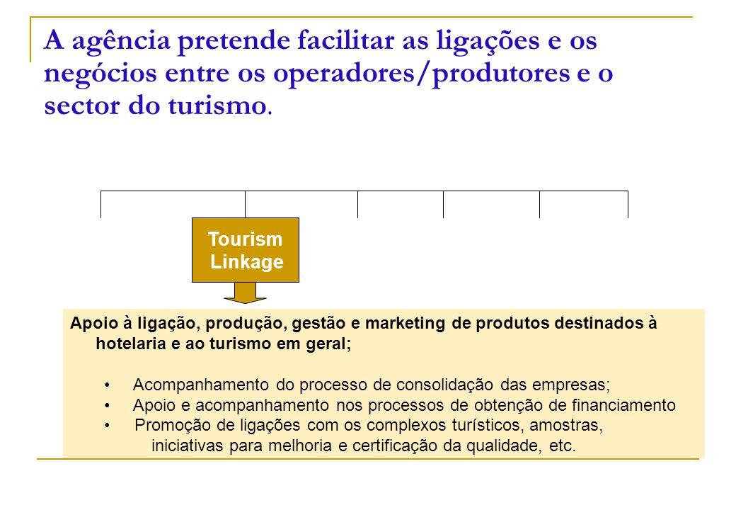 Tourism Linkage A agência pretende facilitar as ligações e os negócios entre os operadores/produtores e o sector do turismo. Apoio à ligação, produção