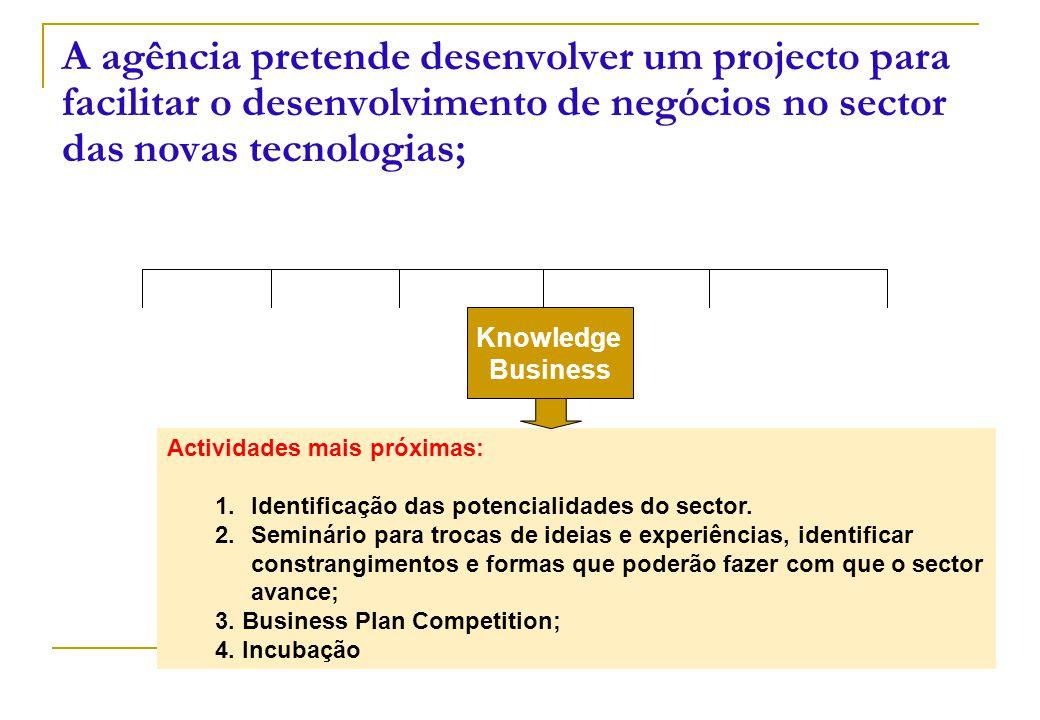 Knowledge Business A agência pretende desenvolver um projecto para facilitar o desenvolvimento de negócios no sector das novas tecnologias; Actividades mais próximas: 1.Identificação das potencialidades do sector.
