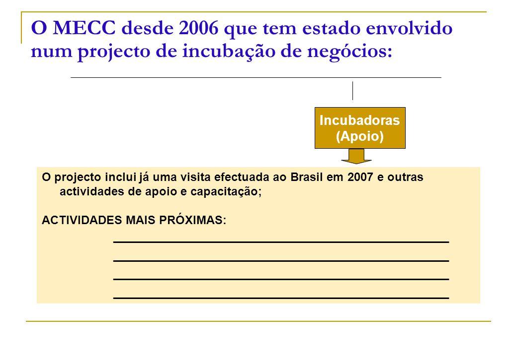 O MECC desde 2006 que tem estado envolvido num projecto de incubação de negócios: Incubadoras (Apoio) O projecto inclui já uma visita efectuada ao Bra