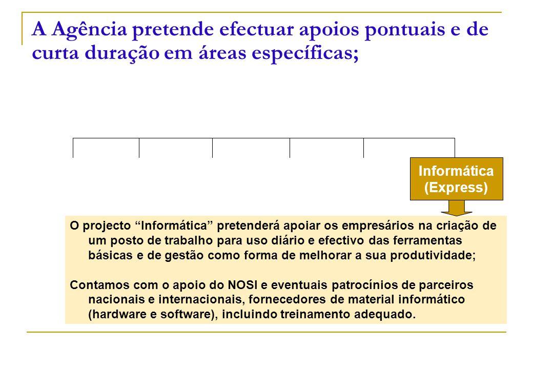 """Informática (Express) A Agência pretende efectuar apoios pontuais e de curta duração em áreas específicas; O projecto """"Informática"""" pretenderá apoiar"""