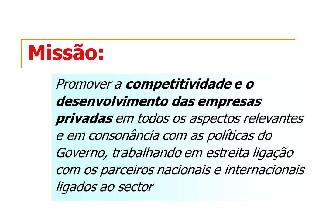 Missão: Promover a competitividade e o desenvolvimento das empresas privadas em todos os aspectos relevantes e em consonância com as políticas do Gove