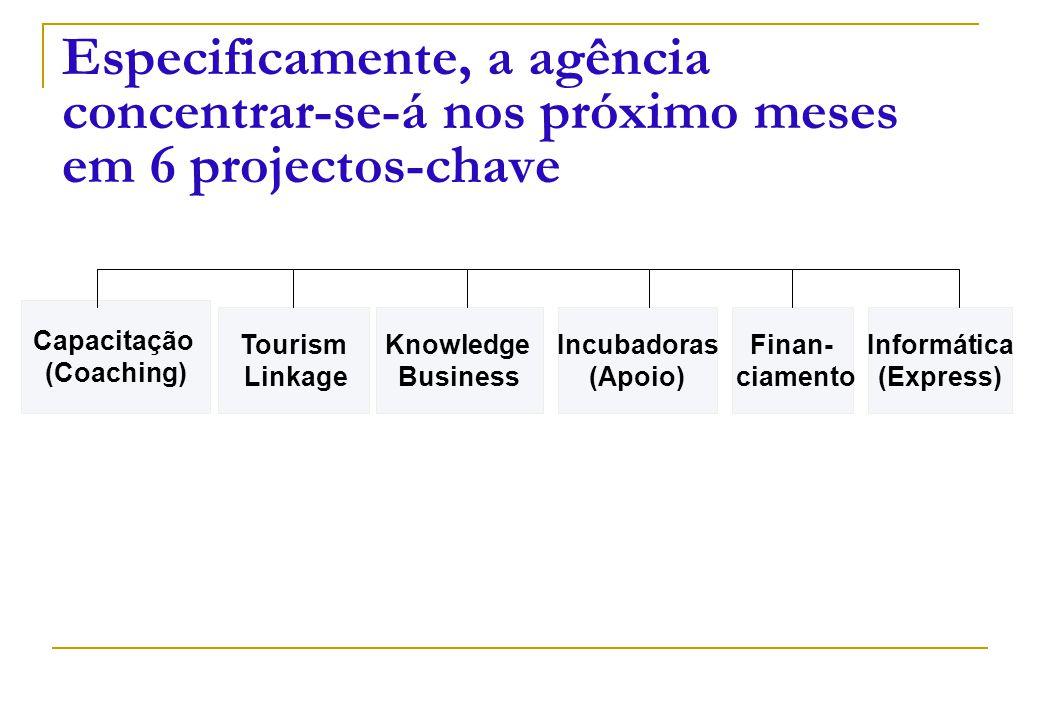 Capacitação (Coaching) Tourism Linkage Knowledge Business Informática (Express) Especificamente, a agência concentrar-se-á nos próximo meses em 6 proj
