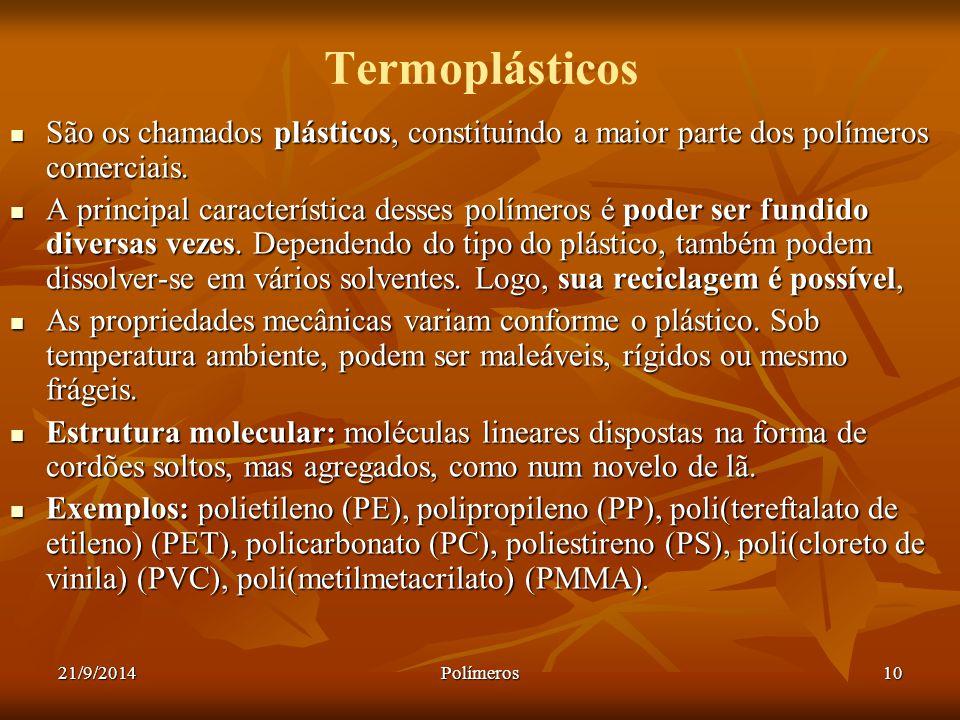21/9/2014Polímeros10 Termoplásticos São os chamados plásticos, constituindo a maior parte dos polímeros comerciais. São os chamados plásticos, constit