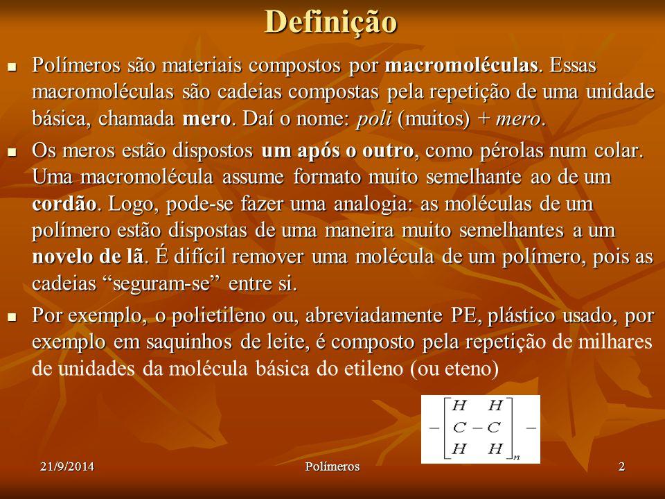21/9/2014Polímeros2Definição Polímeros são materiais compostos por macromoléculas. Essas macromoléculas são cadeias compostas pela repetição de uma un