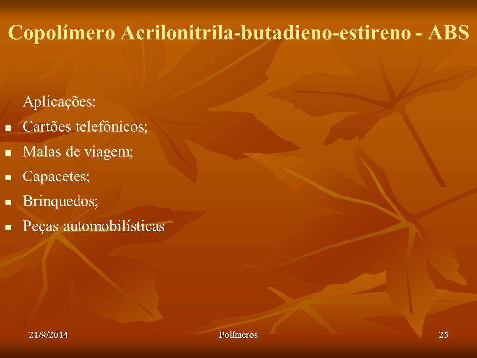 21/9/2014Polímeros25 Copolímero Acrilonitrila-butadieno-estireno - ABS Aplicações: Cartões telefônicos; Malas de viagem; Capacetes; Brinquedos; Peças