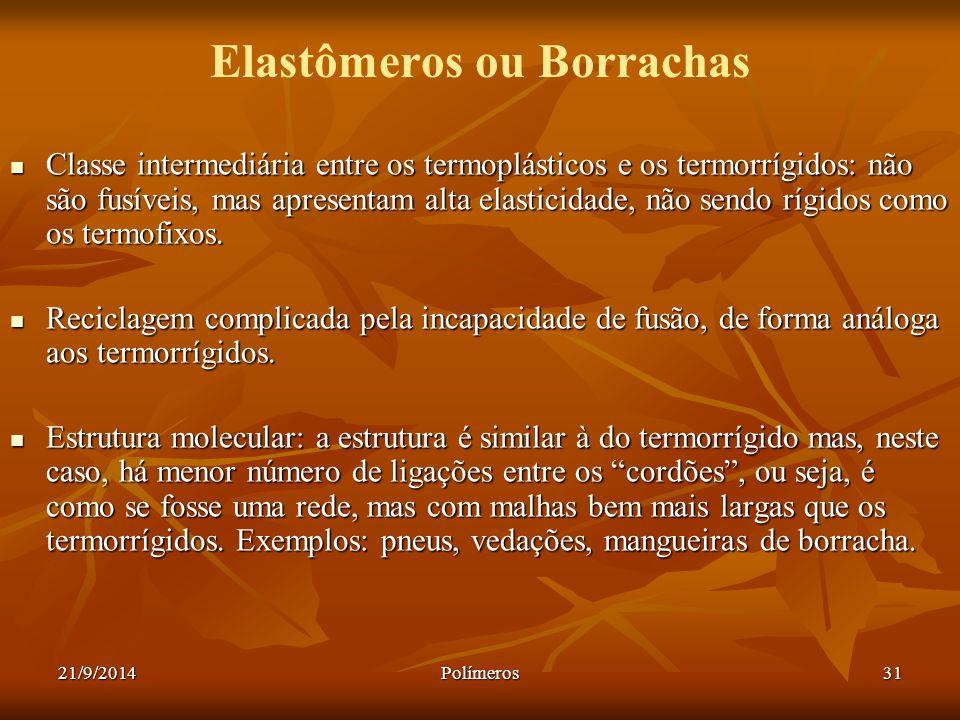 21/9/2014Polímeros31 Elastômeros ou Borrachas Classe intermediária entre os termoplásticos e os termorrígidos: não são fusíveis, mas apresentam alta e