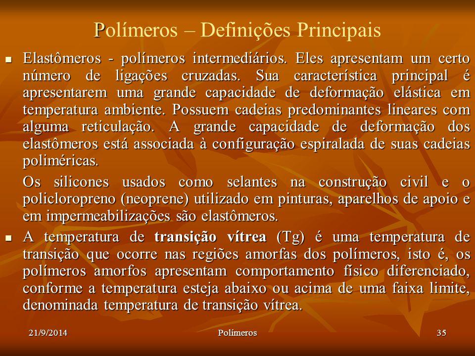 21/9/2014Polímeros35 P Polímeros – Definições Principais Elastômeros - polímeros intermediários. Eles apresentam um certo número de ligações cruzadas.
