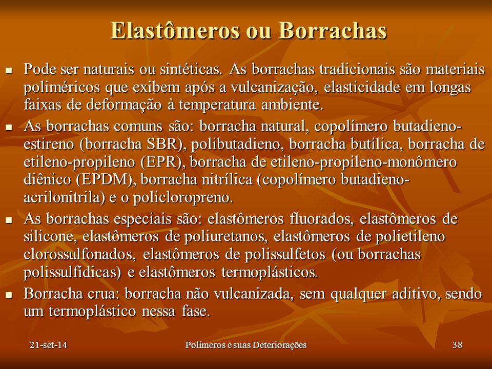 Elastômeros ou Borrachas Pode ser naturais ou sintéticas. As borrachas tradicionais são materiais poliméricos que exibem após a vulcanização, elastici