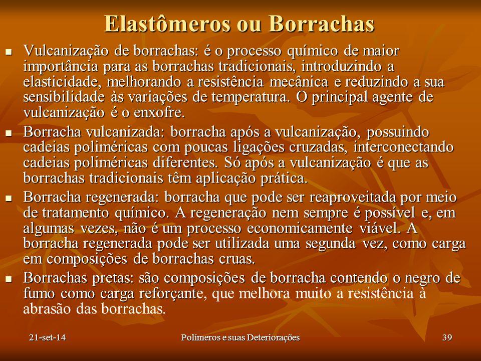 Elastômeros ou Borrachas Vulcanização de borrachas: é o processo químico de maior importância para as borrachas tradicionais, introduzindo a elasticid