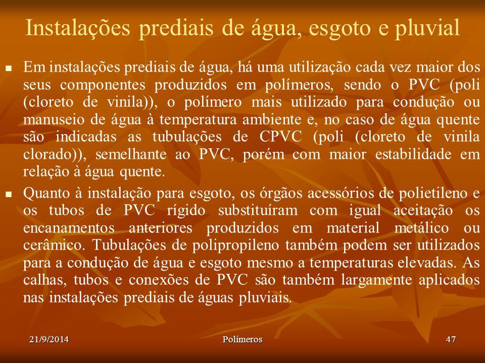 21/9/2014Polímeros47 Instalações prediais de água, esgoto e pluvial Em instalações prediais de água, há uma utilização cada vez maior dos seus compone