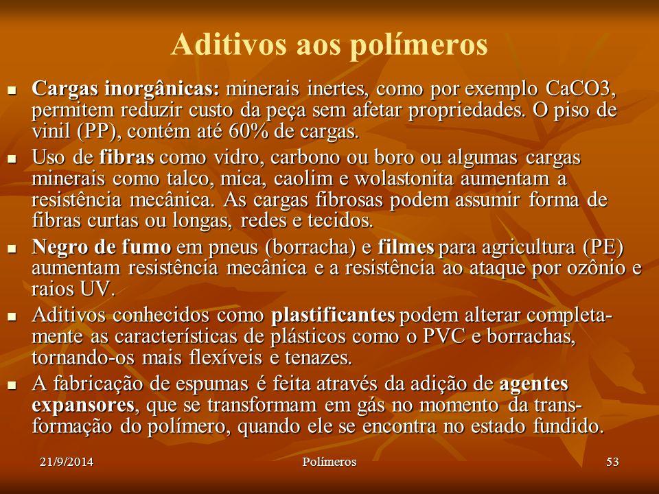 21/9/2014Polímeros53 Aditivos aos polímeros Cargas inorgânicas: minerais inertes, como por exemplo CaCO3, permitem reduzir custo da peça sem afetar pr