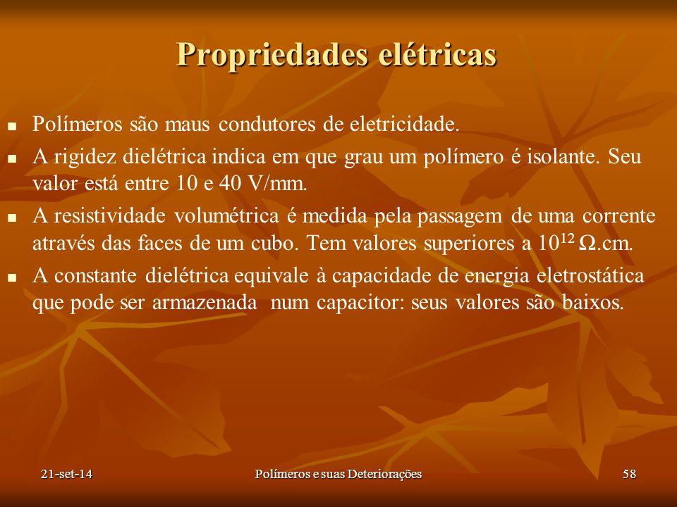 Propriedades elétricas Polímeros são maus condutores de eletricidade. A rigidez dielétrica indica em que grau um polímero é isolante. Seu valor está e